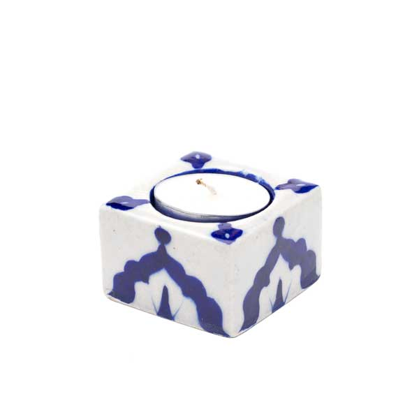 Blue Pottery Tea Light Holder - Indigo