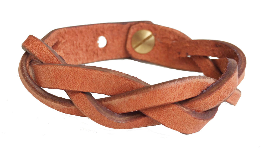 Braided Leather Bracelet - Various Colors