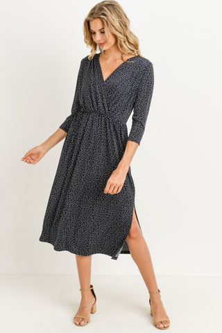 Audrey Dress - Dark Navy Dot