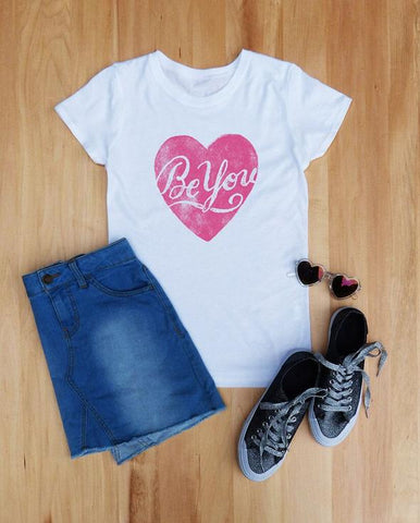 Be You Girls Short Sleeve Tee - White