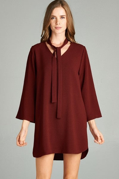 Jayce Tunic Dress - Burgundy