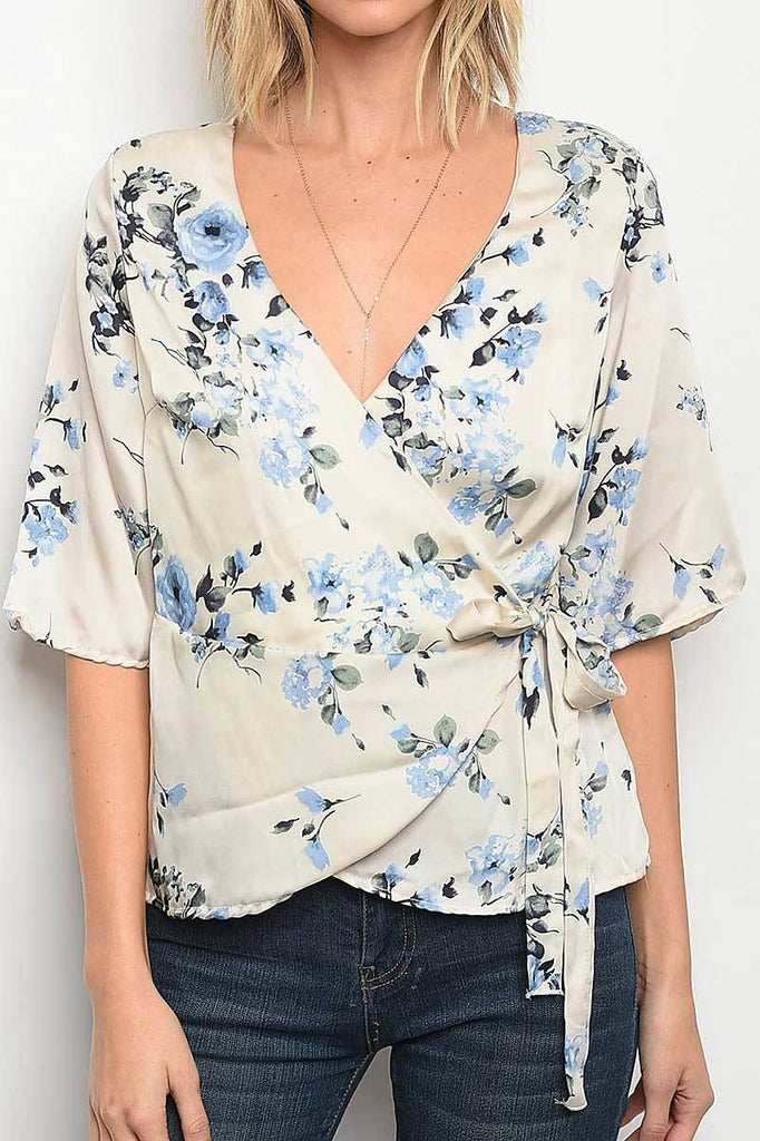 Leah Top - Ivory/Blue
