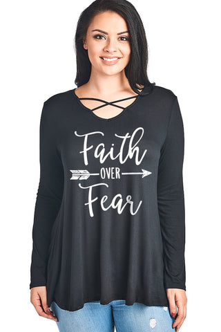 Faith Over Fear Top - Black