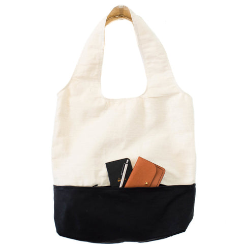 Flaure Tote - Canvas/Black Leather