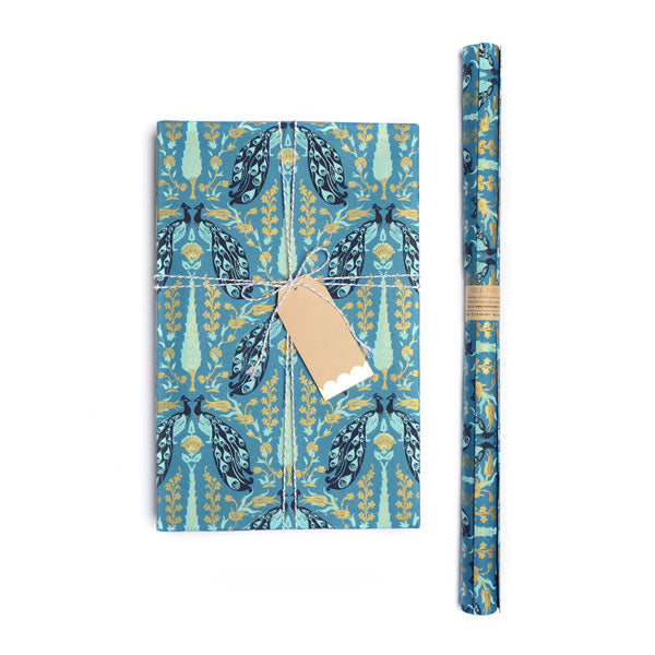 Fauna Gift Wrap - Blue Peacock