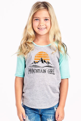 Mountain Girl Baseball Tee - Mint/Gray