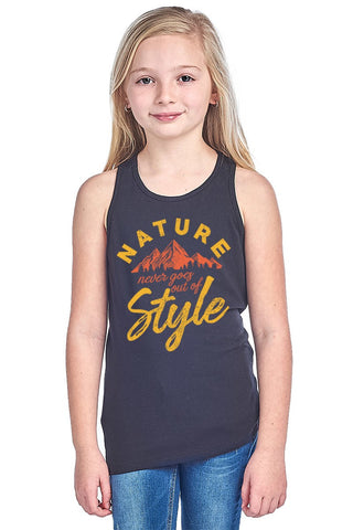 Girl's Nature Graphic Tank Top - Black