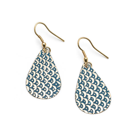 Art Deco Scallop Earrings - Blue
