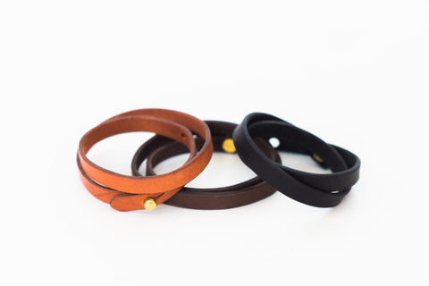 Double Wrap Leather Bracelet - Various Colors