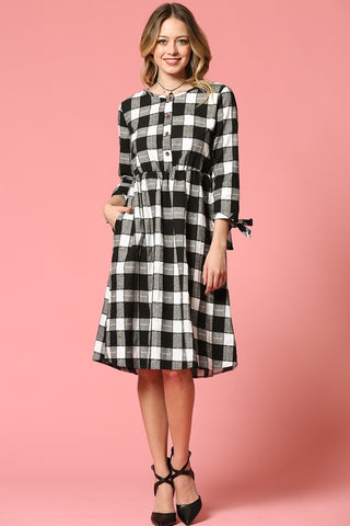 Emily Dress - Black/White