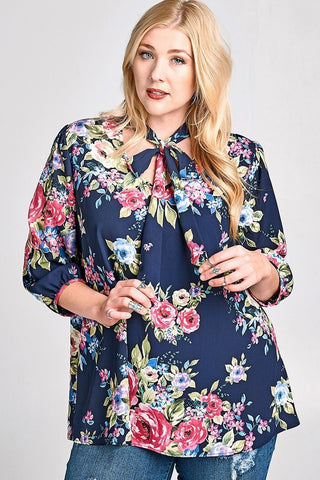 Harper Top - Navy Floral