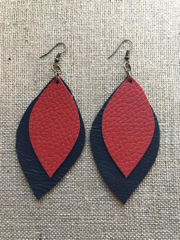 Leather Leaf Earrings (with fabric back) - Navy Blue & Red