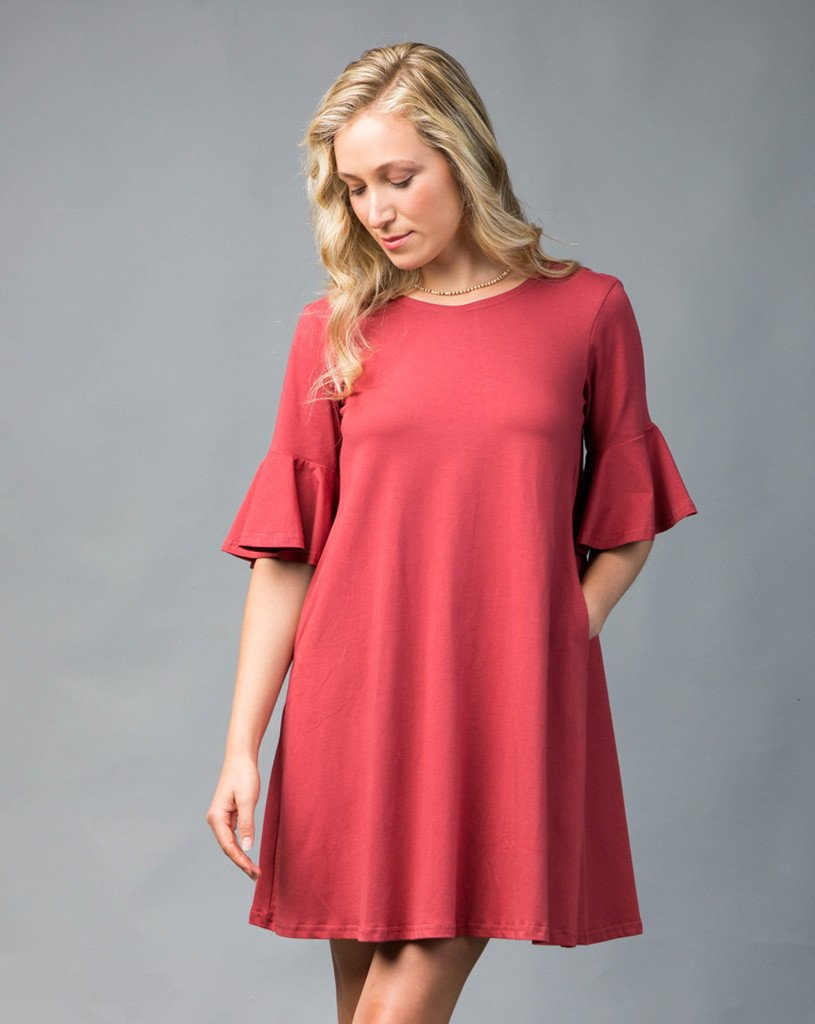 Lina Flutter Sleeve Dress - Brick Red