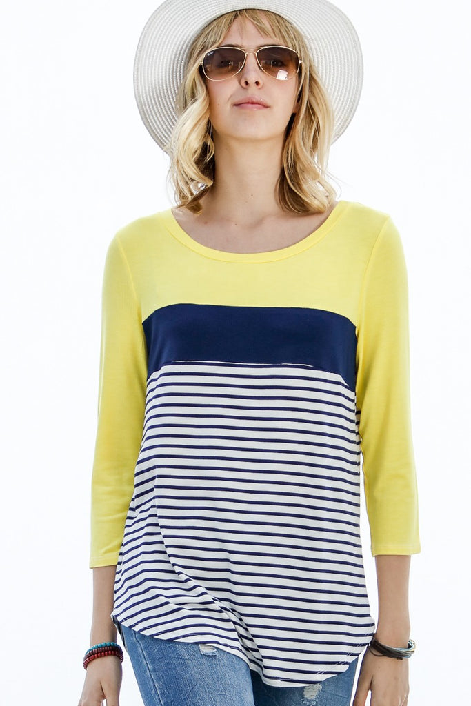 Kiley Top - Yellow/Navy