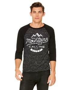 The Mountains are Calling Baseball Tee - Marbled Black