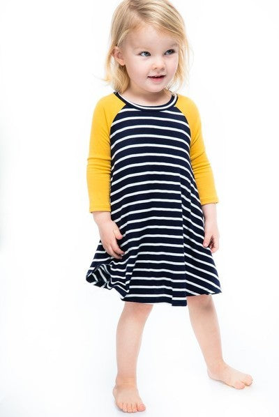Toddler Colbie Dress - Navy Stripes/Mustard