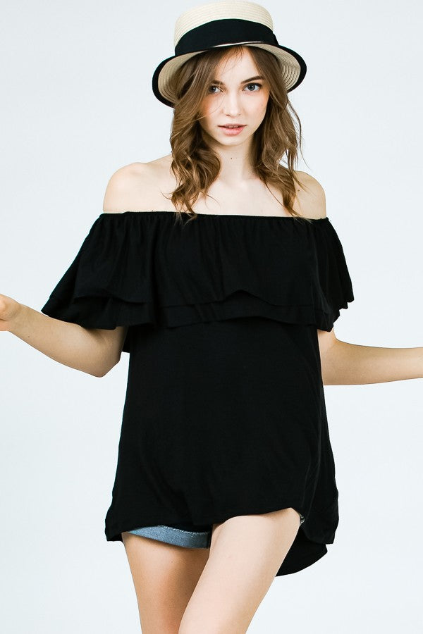 Kara Off-Shoulder Top - Black