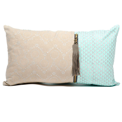 Long Metallic Block Print Pillow Cover - Mint