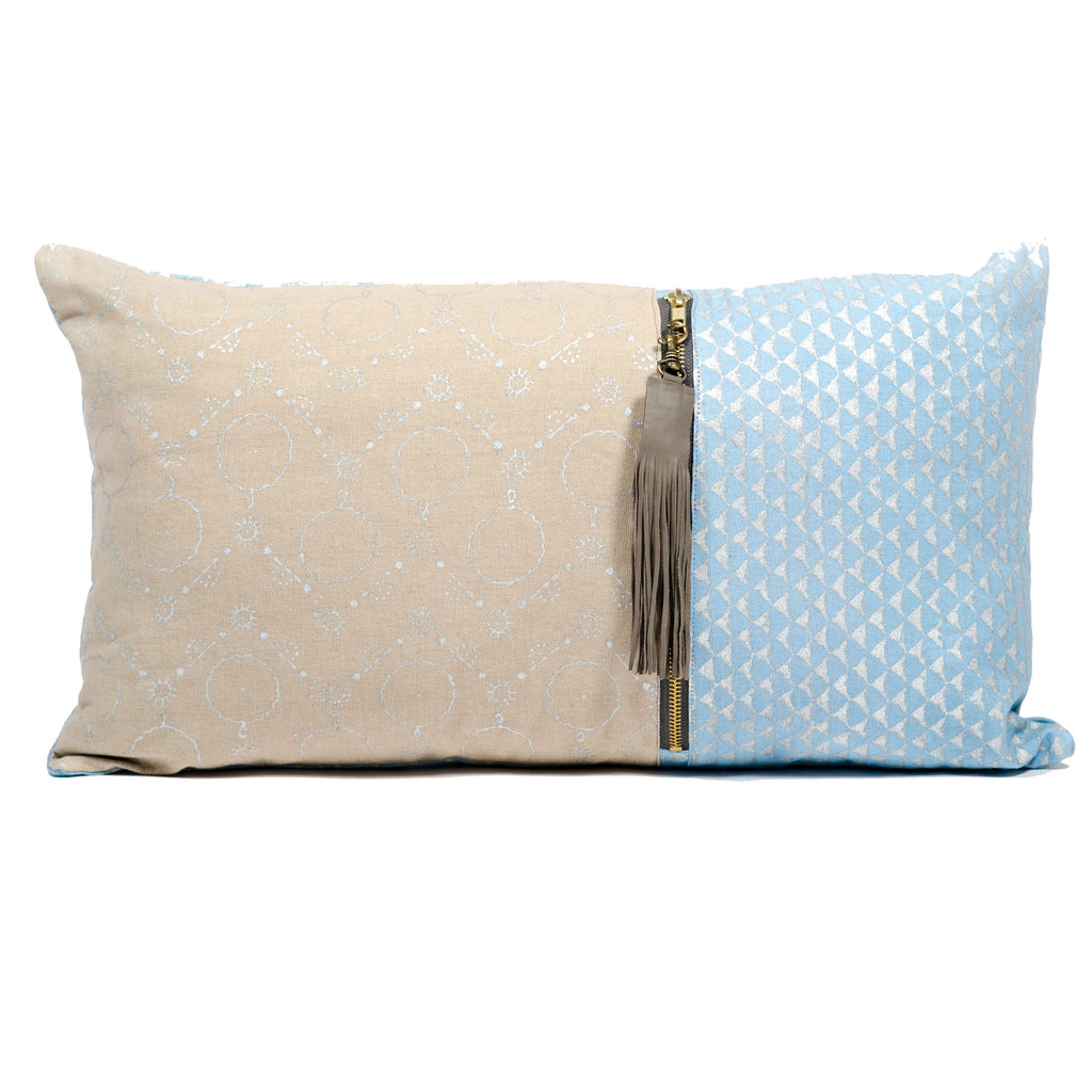 Long Metallic Block Print Pillow Cover - Blue
