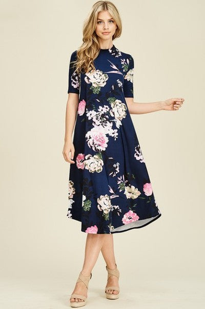 Jackie Dress - Navy/Floral