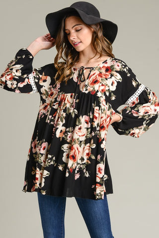 Mila Top - Black Floral