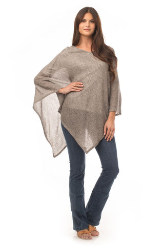 V-Neck Poncho - Light Gray