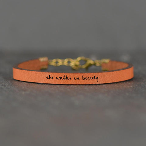 Leather Bracelet - She Walks In Beauty - Brown