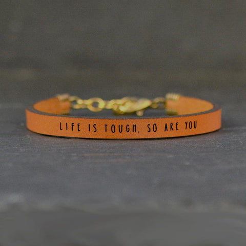 Leather Bracelet - Life is Tough, So are You - Burgundy