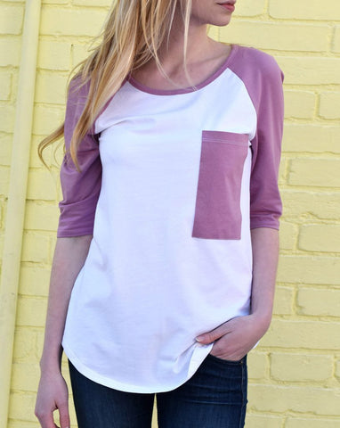 Janel Baseball Tee - Orchid/White