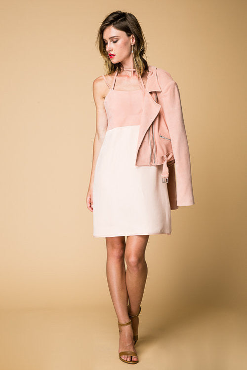 3 day Weekend Dress- Peachie Pink Genuine Suede Bust and Silky Skirt.