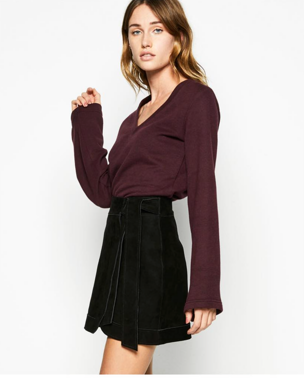 Sunday Skirt - Black Suede Genuine Leather