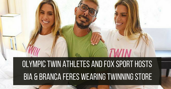 Olympic Twin Athletes and Fox Sport Hosts Bia & Branca Feres wearing Twinning Store