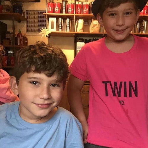 american twin boys wearing twin t-shirts from twinning store