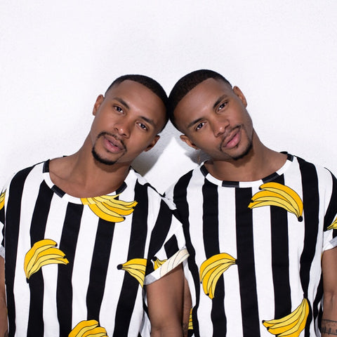 Harris Twin brother wearing Banana shirts