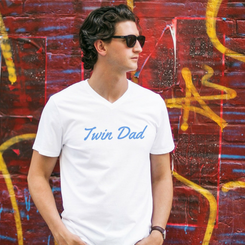 twinning store twin dad t-shirt worn by twin father