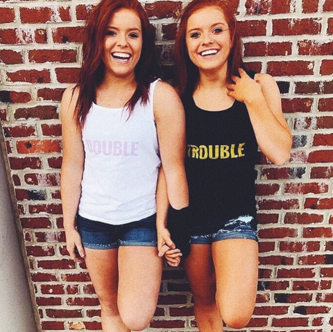 Hannah and Jessica Gerlacher SOT Twins wearing Twinning Store Double Trouble Tank Tops