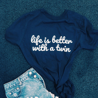 Life Is Better With A Twin T-shirt (Navy) - Fashion for twins TWINNING STORE