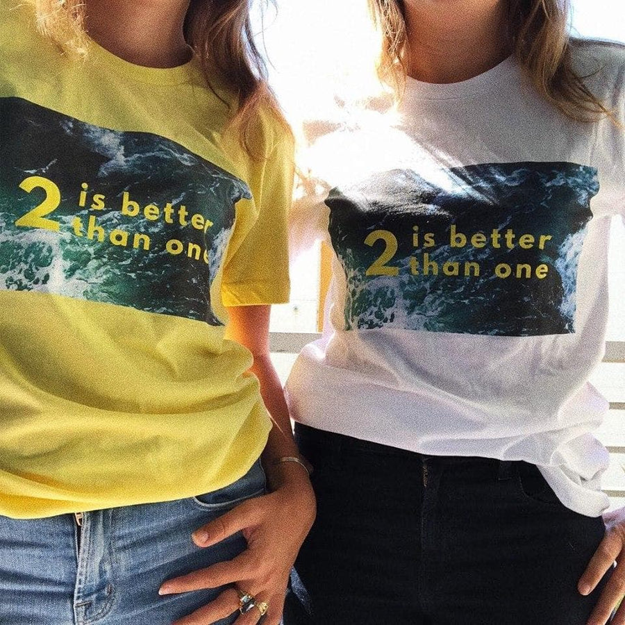2 IS BETTER THAN ONE T-SHIRT (White) - Fashion for twins TWINNING STORE