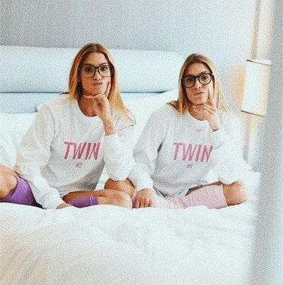 Twin #1 Print Long-sleeve (White)