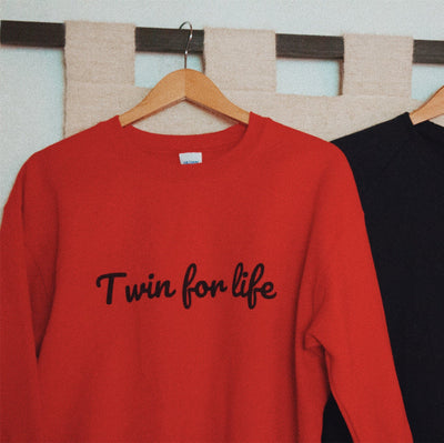 Twin For Life Sweater (Red) - Fashion for twins TWINNING STORE