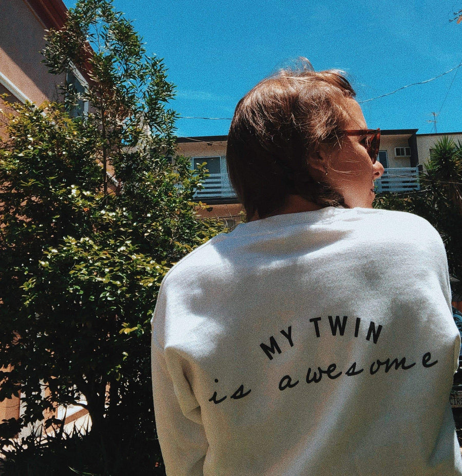 My twin is awesome sweater (White)