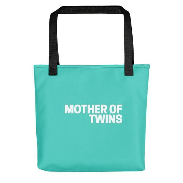 Mother of Twins Turquoise Art Tote Bag for twin mom