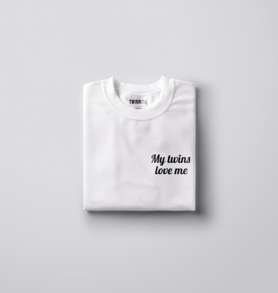 MY TWINS LOVES ME LONG SLEEVE SHIRT (WHITE) - Fashion for twins TWINNING STORE