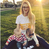 I AM A TWIN MAMA (WHITE/YELLOW) T-shirt worn by twin mother and twins