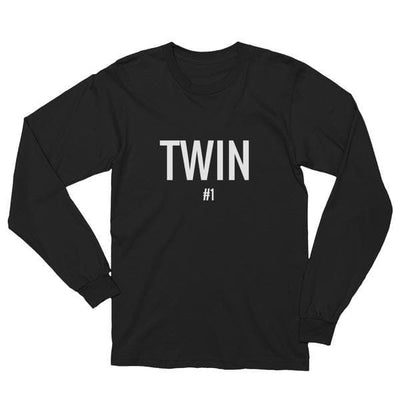 Twin #1 Print Long-sleeve Shirt (Black) - Fashion for twins TWINNING STORE