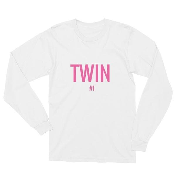 Twin #1 long-sleeve t-shirt in White and Pink print for twins by Twinning Store