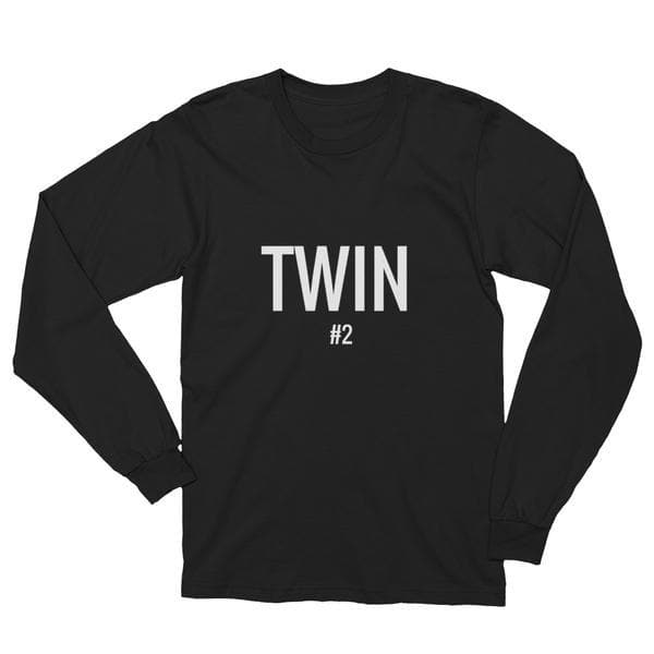 Twin #2 t-shirt in Black with white print for twins by Twinning Store