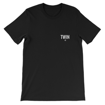 TWIN #2 PETITE LOGO UNISEX T-SHIRT (BLACK) - Fashion for twins TWINNING STORE