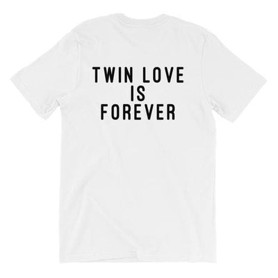 Twin Love Is Forever Back Print T-shirt (White) - Fashion for twins TWINNING STORE