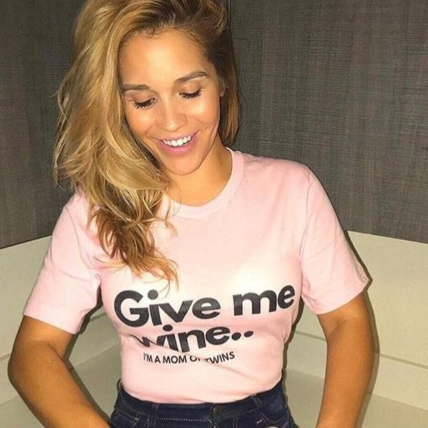 Give me wine I am a mom of twins t-shirt in Pink twinning store